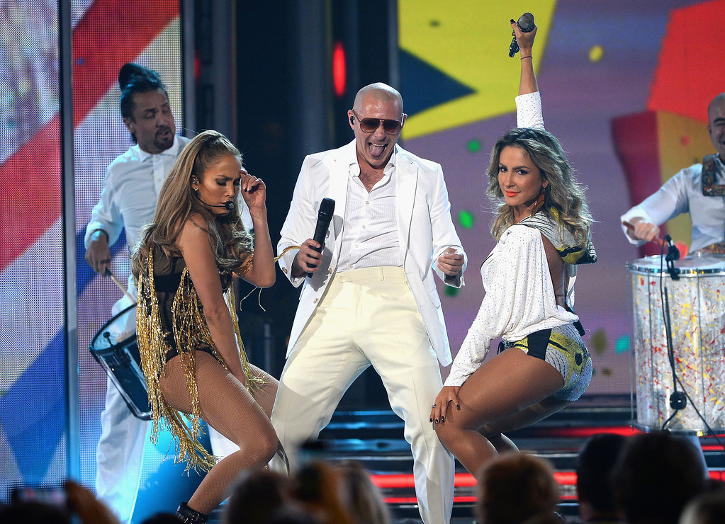 . LAS VEGAS, NV - MAY 18:  (L-R) Recording artists Jennifer Lopez, Pitbull, and Claudia Leitte perform onstage during the 2014 Billboard Music Awards at the MGM Grand Garden Arena on May 18, 2014 in Las Vegas, Nevada.  (Photo by Ethan Miller/Getty Images)