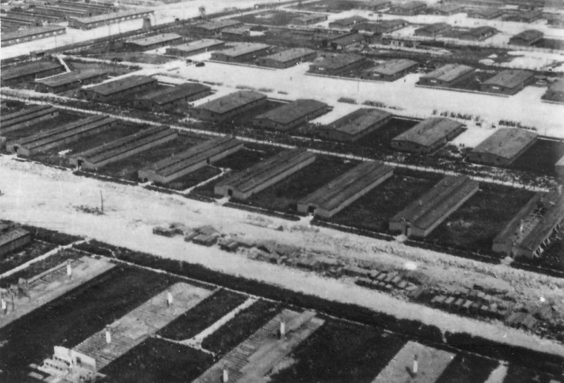 Aerial view of the camp taken June 24th 1944.
