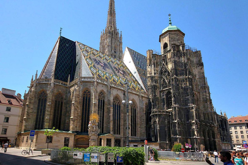 St. Stephen's Cathedral in Vienna was built from 1368 to 1433-rather quick in its day for a structure this large & ornate. The top of the steeple is 445 feet high. A retreating WWII German Captain ignored his orders to blast it to pieces with cannons. Ironically, it sustained severe damage later in WWII due to an accidental fire in the city caused by civilian looters.