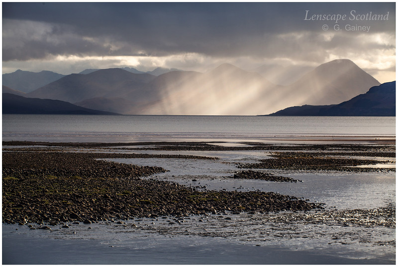 Cuillins of Skye from mouth of the River Applecross