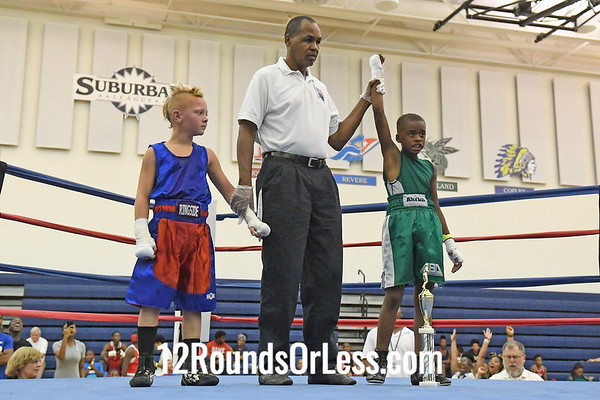 Bout #5:  Rayshun McKinley, Red Gloves   vs   Connor Shoemaker, Blue Gloves  -  65 Lbs.