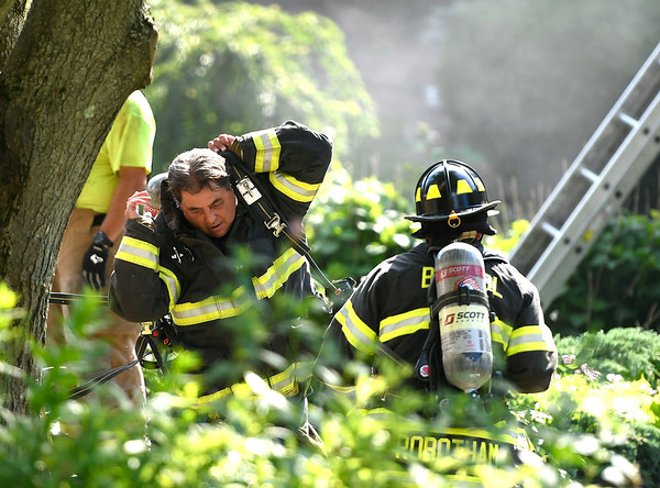 6/29/2018 Mike Orazzi | Staff The scene of a house fire on Pattonwood Drive in Southington where one dog and one cat died and a dog was saved Friday afternoon. Fire departments from Southington, Plainville, Bristol and New Britain responded to assist with manpower as firefighters battled high temperatures along with heavy smoke. No other injuries were reported.