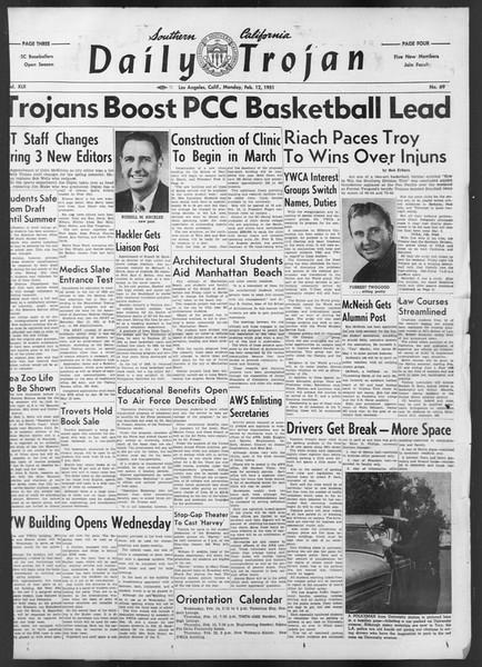 Daily Trojan, Vol. 42, No. 69, February 12, 1951