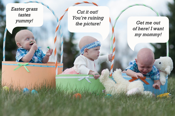 The triplets celebrate Easter 2014