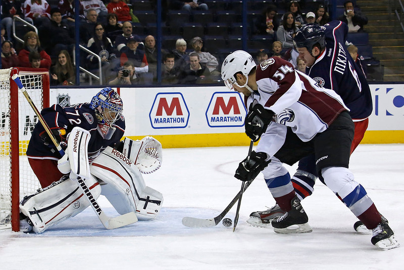 . Nikita Nikitin #6 of the Columbus Blue Jackets helps deflect the shot from David Jones #54 of the Colorado Avalanche before it can reach Sergei Bobrovsky #72 of the Columbus Blue Jackets during the first period on March 3, 2013 at Nationwide Arena in Columbus, Ohio. (Photo by Kirk Irwin/Getty Images)
