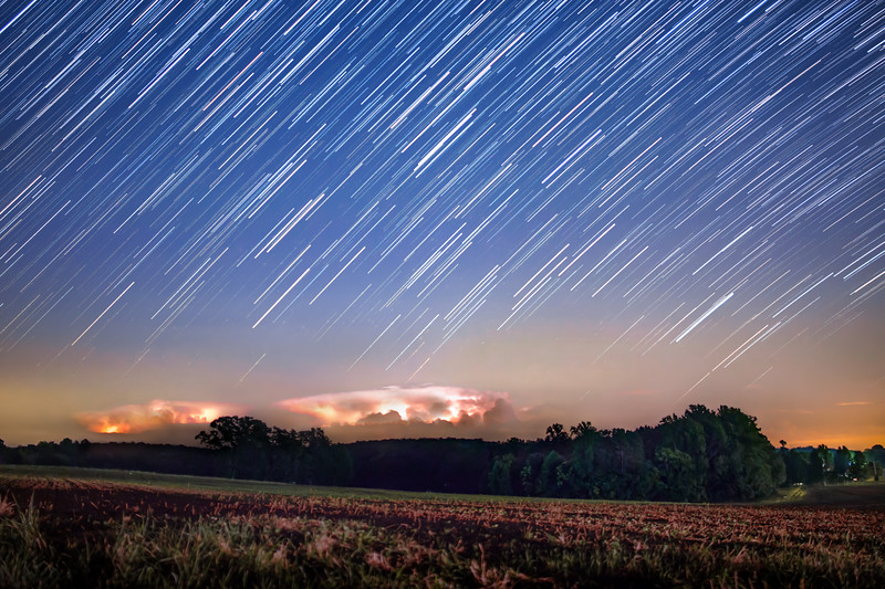 Star Trail above a Thunderstorm