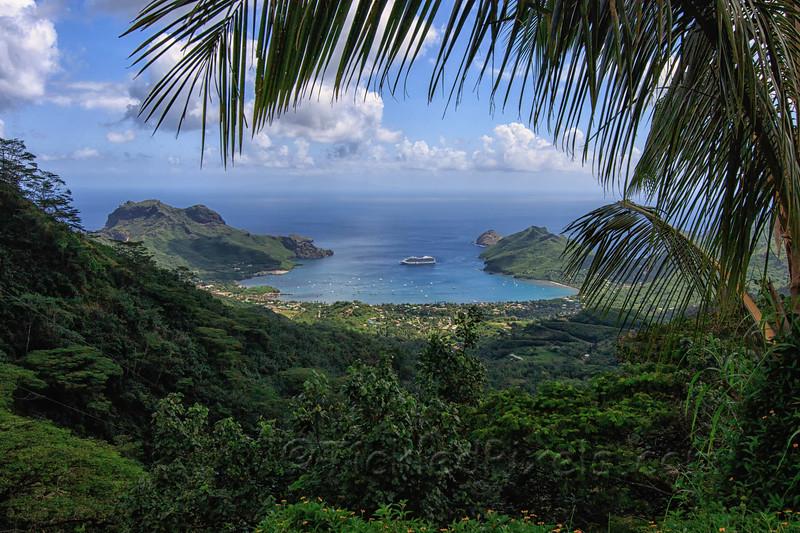 Oceania's Marina Anchored in Taioha'e Bay