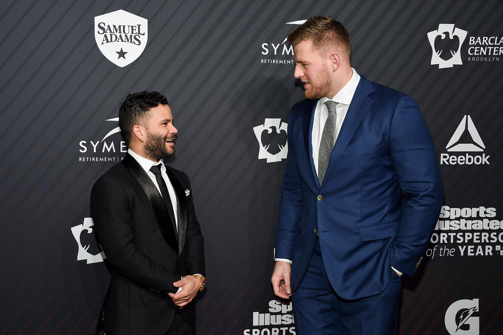 . Sportsperson of the Year co-honorees Jose Altuve, left, and J.J. Watt pose before the Sports Illustrated 2017 Sportsperson of the Year Awards at Barclays Center on Tuesday, Dec. 5, 2017, in New York. (Photo by Evan Agostini/Invision/AP)