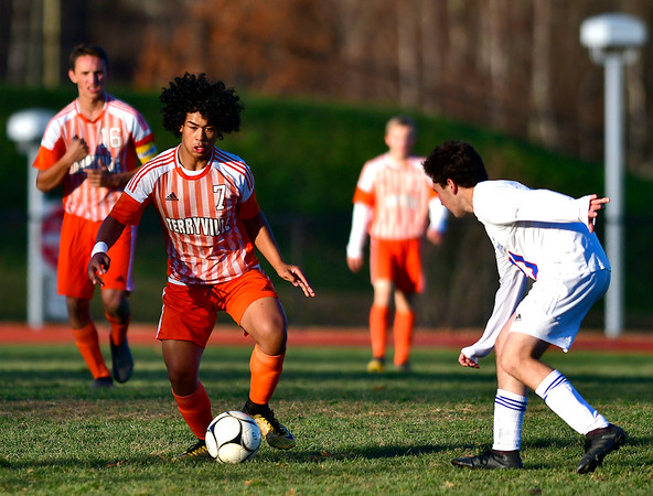 11/6/2019 Mike Orazzi | Staff Terryville High School's Devin Dao (7) during boys soccer with Nonnewaug at THS Wednesday.