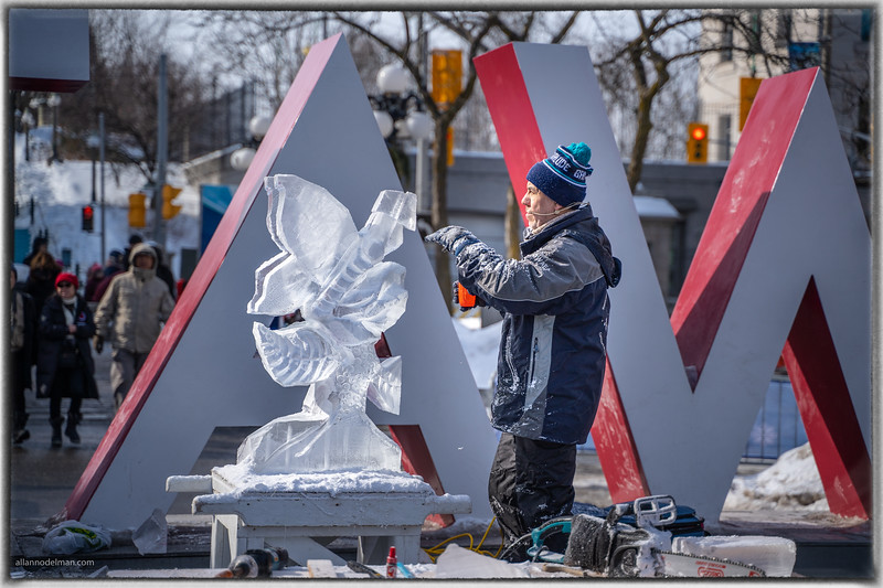 Ice Sculpting Demonstration at Winterlude Festival in Ottawa