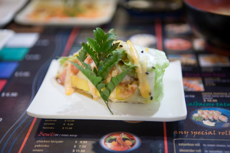 mango, imitation crab, salmon wrapped in lettuce wrapped in soy paper with spicy mayo.
