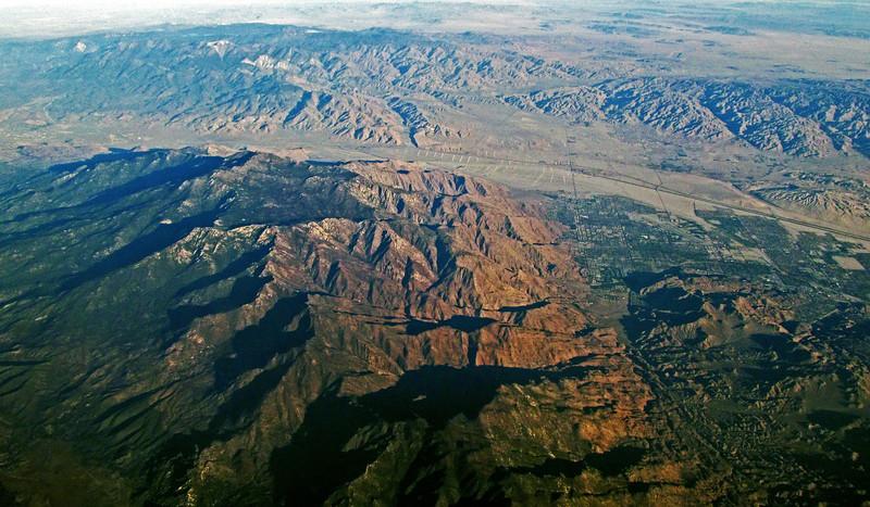 The San Jacinto (foreground) and San Bernardino ranges of southern CA.