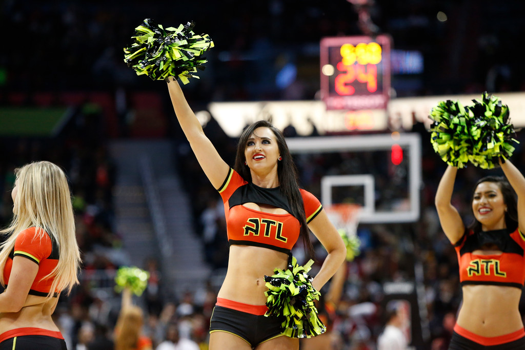 . Atlanta Hawks cheerleader performs against the Cleveland Cavaliers in the second half of an NBA basketball game, Friday, March 3, 2017, in Atlanta.The Cavaliers won 135-130. (AP Photo/Brett Davis)