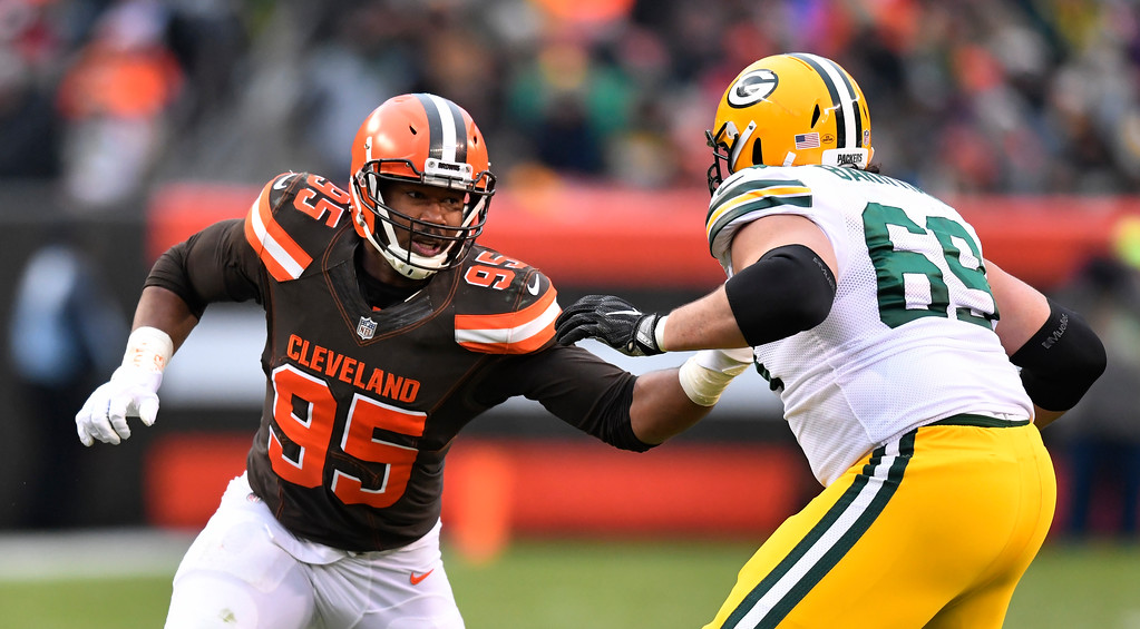 . Cleveland Browns defensive end Myles Garrett (95) defends against Green Bay Packers offensive tackle David Bakhtiari (69) in the second half of an NFL football game, Sunday, Dec. 10, 2017, in Cleveland. (AP Photo/David Richard)