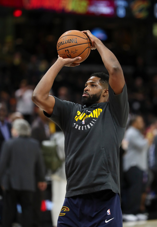 . Cleveland Cavaliers center Tristan Thompson shoots during warmups before Game 3 of basketball\'s NBA Finals between the Cavaliers and the Golden State Warriors, Wednesday, June 6, 2018, in Cleveland. (AP Photo/Carlos Osorio)