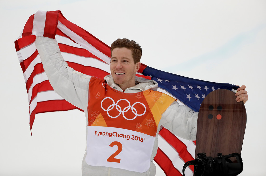 . Shaun White, of the United States, celebrates his gold medal after the men\'s halfpipe finals at Phoenix Snow Park at the 2018 Winter Olympics in Pyeongchang, South Korea, Wednesday, Feb. 14, 2018. (AP Photo/Gregory Bull)