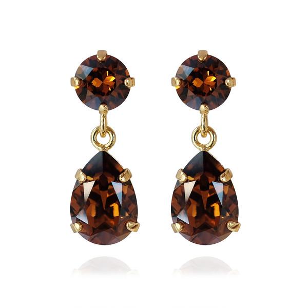 Mini Drop Earrings / Smoked Topaz Gold