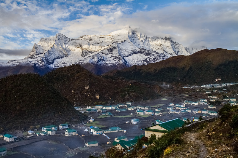 View of Khumjung village and snowcapped mountain - Nepal