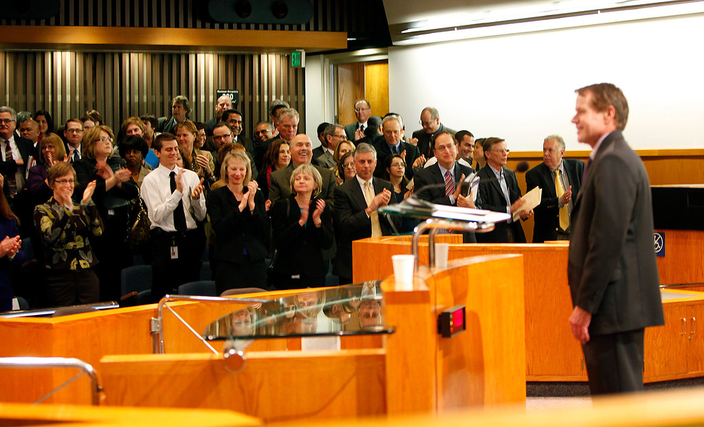 . Supervisor Ken Yeager, president of the County of Santa Clara Board of Supervisors receives a standing ovation after delivering the 2013 State of the County Address in the Board Chambers on Tuesday Jan. 29, 2013 in San Jose, Calif. (Karl Mondon/Staff)