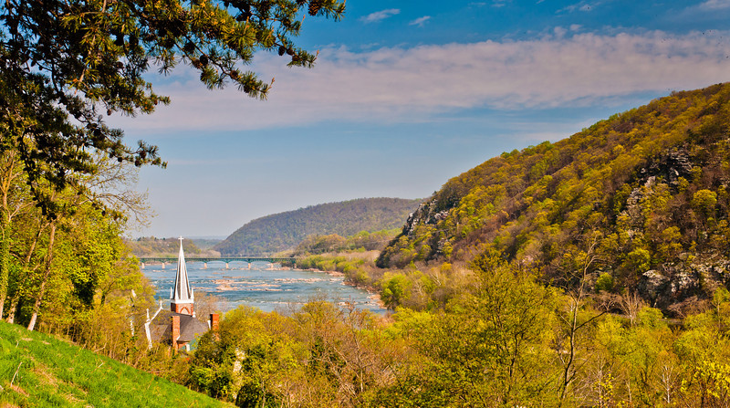 View of Saint Peter's Church from Jefferson Rock, Harpers Ferry, WVA