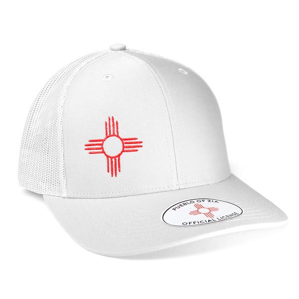 Outdoor Apparel - Organ Mountain Outfitters - Hat - Zia Sun Symbol Trucker Cap White.jpg