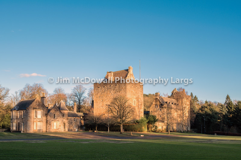Majestic Buildings of Dean castle in Late Afternoon Sunlight in East Ayrshire Kilmarnock Scotland.