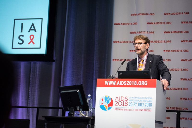 22nd International AIDS Conference (AIDS 2018) Amsterdam, Netherlands.   Copyright: Steve Forrest/Workers' Photos/ IAS  Photo shows: President-Elect of the IAS, Anton Pozniak, speaking during the IAS Members' Meeting.