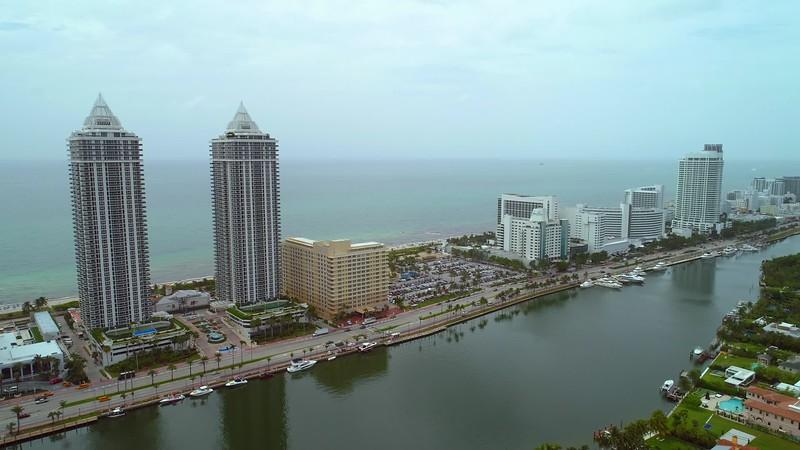 Slow panning footage Miami Beach Collins Avenue hotels condominiums 4k
