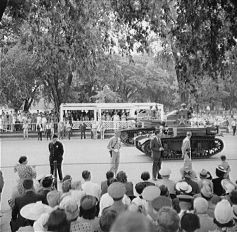 . Washington, D.C. President Roosevelt reviewing the Memorial Day parade, 1942. Royden Dixon, Photographer.  Courtesy the Library of Congress