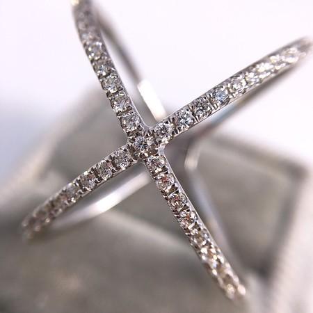 "0.44ctw ""Afarin"" Diamond Cross Over ""X"" Ring, 18kt White Gold"