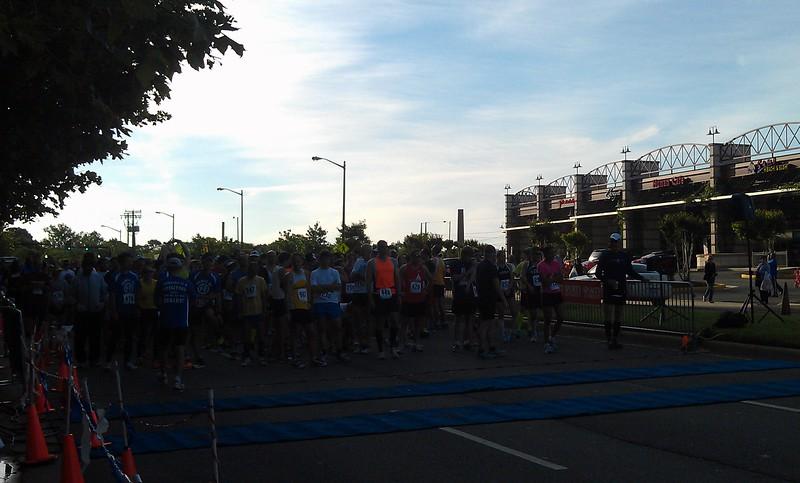 The start line of the half marathon