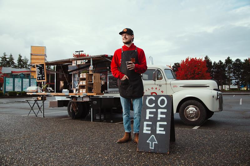 Portrait of a Pilgrim Coffee Shop barista created by Denver commercial photographer Jason Sinn.