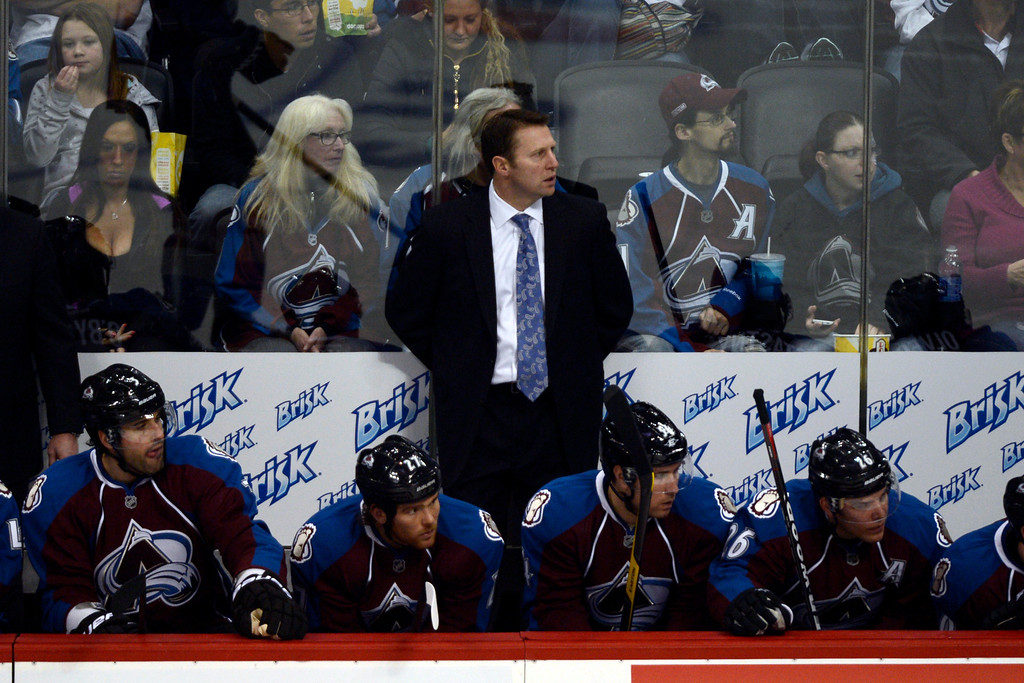 . DENVER, CO. - JANUARY 22: Colorado Avalanche head coach Joe Sacco watches the action against the Los Angeles Kings during the second period. The Colorado Avalanche hosted the Los Angeles Kings at the Pepsi Center on January, 22, 2013.   (Photo By John Leyba / The Denver Post)