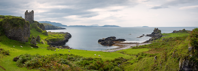 Panoramic view of Gylen Castle on the lush green Isle of Kerrera, Scotland