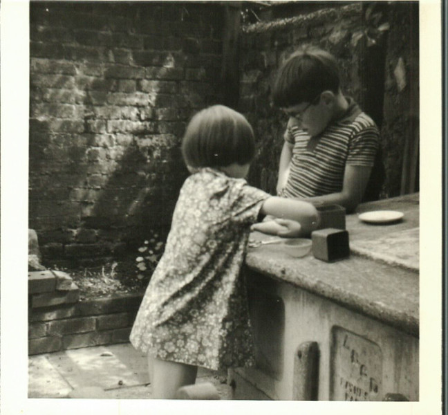 Paul and Jean in the back yard In Brighton