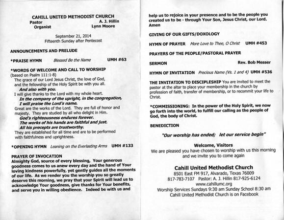 9.21.14 Cahill United Methodist Church