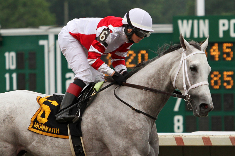 Joyful Victory (Tapit) and jockey Rosie Napravnik win the Molly Pitcher (Gr II) at Monmouth Park 7/28/13. Trainer: Larry Jones. Owner: Fox Hill Farms