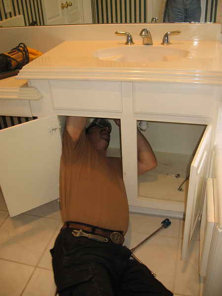 Willie removing the sink fixtures