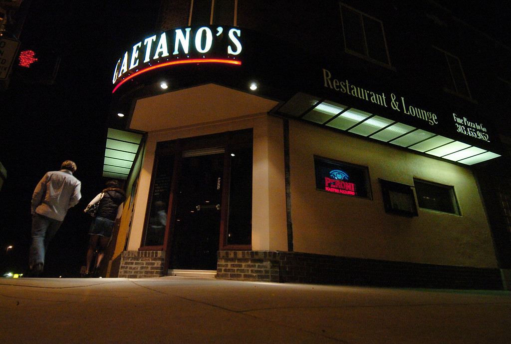 . DENVER, CO -- NOV2, 2006 -- Gaetano\'s, 3760 Tejon Street was operated by the Smaldone family for years and served as headquarter for the Denver mafia clan. The front door still has the bullet-proof glass they installed say current owners. (Denver Post Staff photo by Brian Brainerd)