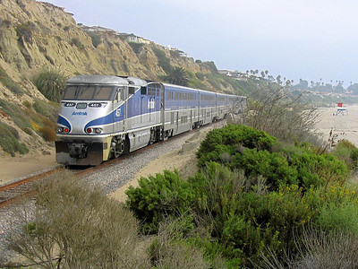 Amtrak's Pacific Surfliner at San Clemente Beach, California
