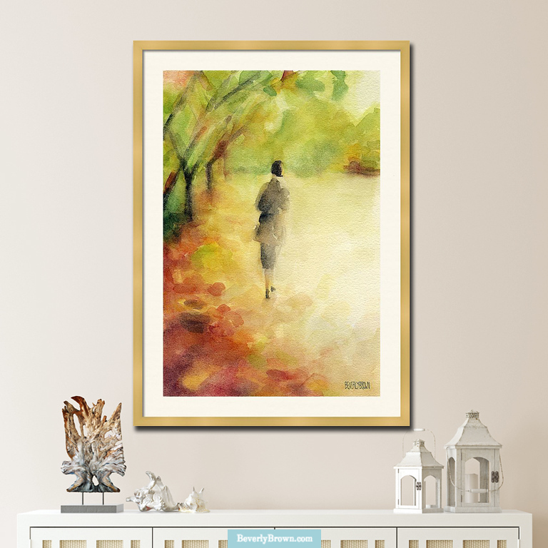 Woman Walking Autumn Leaves rustic earth tone painting in shades of yellow ochre, rust, green and orange by artist Beverly Brown. Available in multiple sizes as a framed print & canvas wall art by Beverly Brown - beverlybrown.com