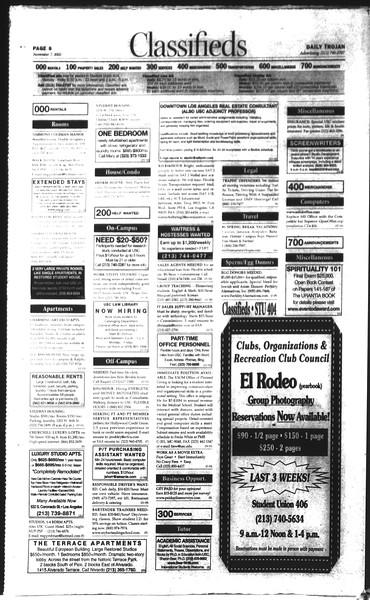 Daily Trojan, Vol. 150, No. 52, November 07, 2003