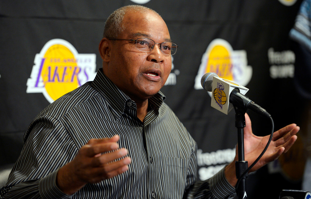 . Los Angeles Lakers interim head coach Bernie Bickerstaff speaks during a news conference, Friday, Nov. 9, 2012, prior to their NBA basketball game against the Golden State Warriors in Los Angeles. Bickerstaff is sitting in as head coach while the Lakers search for a replacement for Mike Brown who was fired earlier today. (AP Photo/Mark J. Terrill)