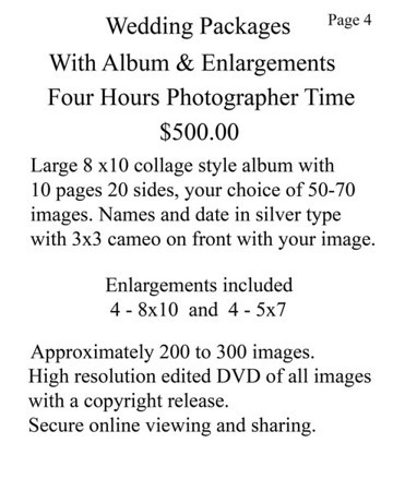 Wedding  Pricing & Contract