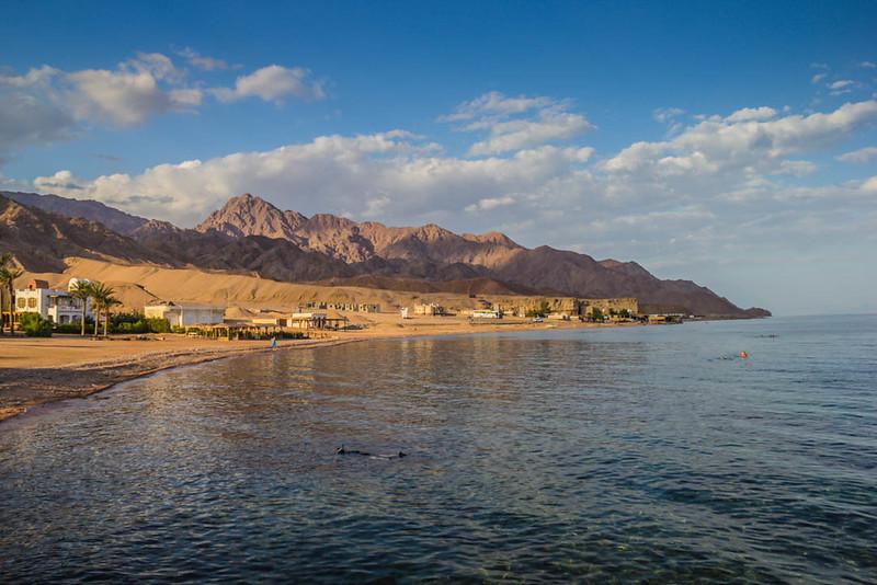 Red Sea coastline in Dahab, Egypt