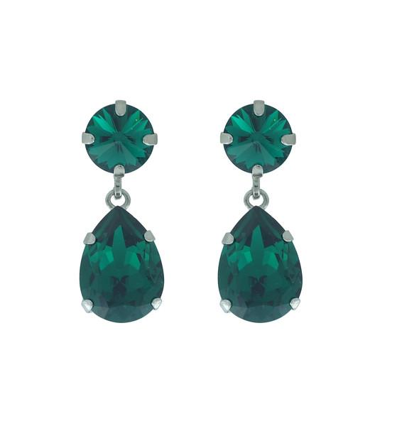 Classic Drop Earrings / Emerald (Rhodium)