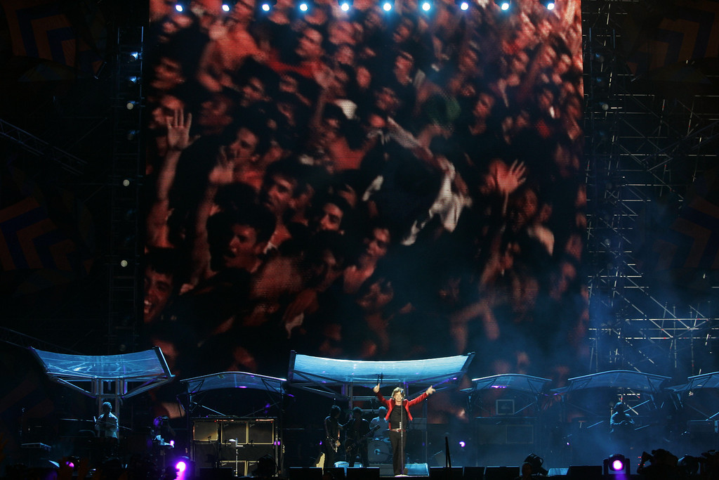 . Mick Jagger of the Rolling Stones performs during the Rolling Stones\' \'A Bigger Bang\' concert in Buenos Aires, Argentina Tuesday Feb. 21 2006.(AP Photo/Natacha Pisarenko)