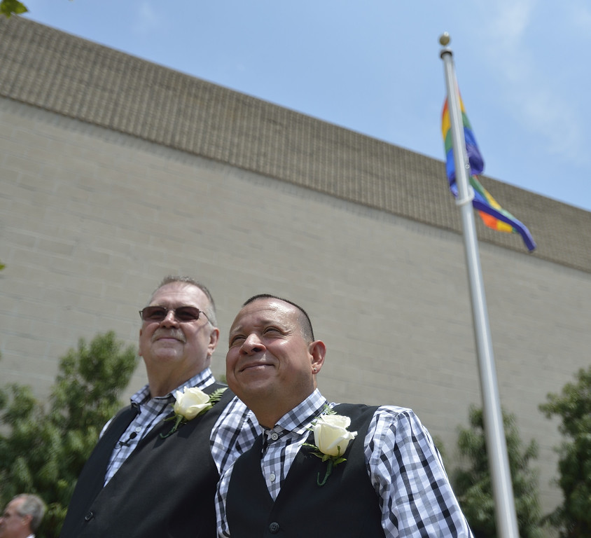 . LONG BEACH, CALIF. USA -- Long Beach residents Bob Crow, left, and Tony Almeida, before getting married at Harvey Milk Plaza in Downtown Long Beach, Calif., on July 1, 2013. Long Beach Mayor Bob Foster performed the marriage ceremony for the couple. Crow, who founded Long Beach Pride, asked Foster to perform the ceremony years ago.  Photo by Jeff Gritchen / Los Angeles Newspaper Group