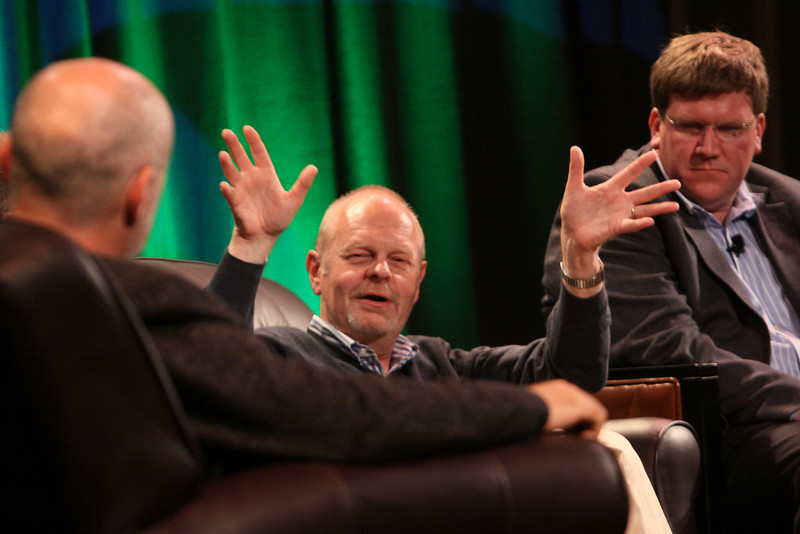 """""""FiRe CTO Design Challenge"""": (L-R) Author, physicist, and host David Brin; Per-Kristian (Kris) Halvorsen, SVP and Chief Innovation Officer, Intuit; and Ty Carlson, Architect, SiArch Group, Microsoft"""