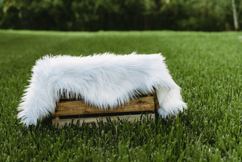 Wood Crate with White Faux Fur Rug